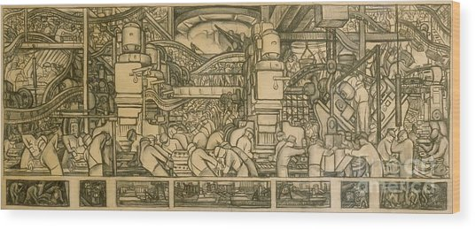 Presentation Drawing Of The Automotive Panel For The North Wall Of The Detroit Industry Mural Wood Print