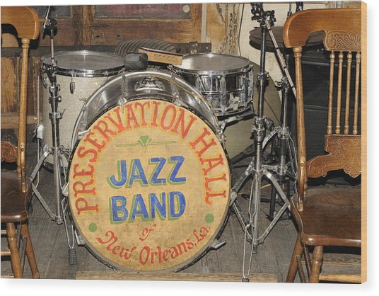 Preservation Hall Jazz Band Drum Wood Print