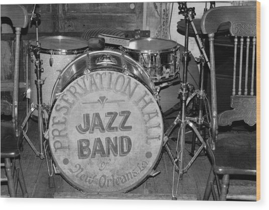Preservation Hall Jazz Band Drum Bw Wood Print