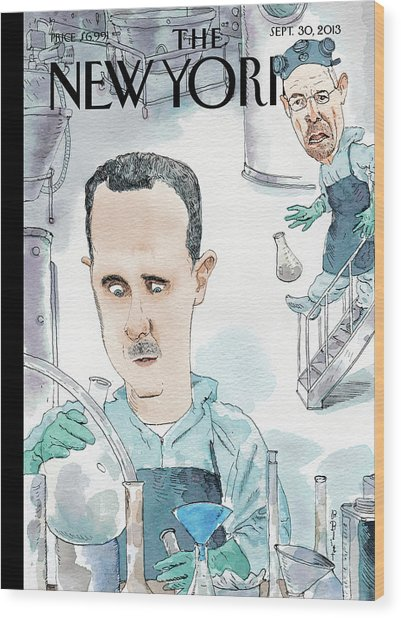 President Assad Cooks Up A Chemical Cocktail Wood Print by Barry Blitt