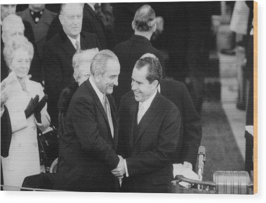 President Lyndon Johnson Warmly Shakes Wood Print by Everett
