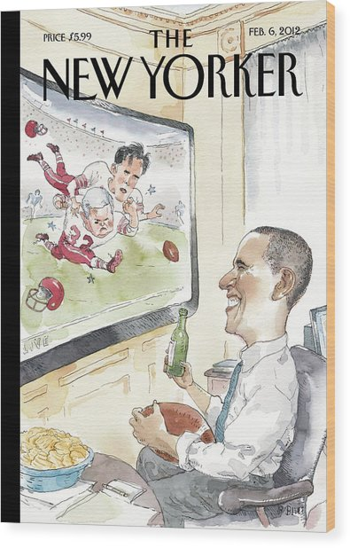 President Obama Watches Football On Tv Wood Print