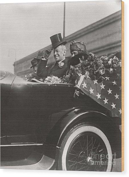 President Woodrow Wilson 1919 Wood Print by Martin Konopacki Restoration