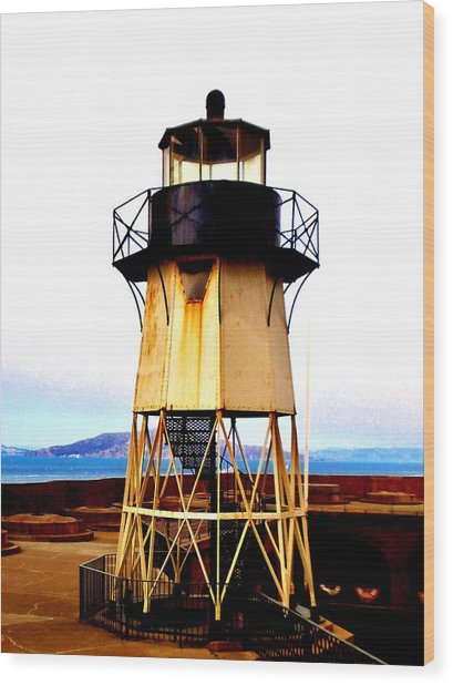 Presidio Lighthouse Wood Print by Sharon Costa