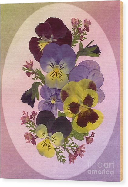 Pressed Pansies Wood Print