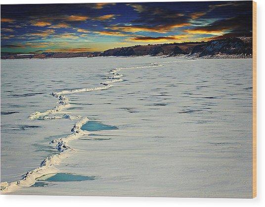 Pressure Ridge On Lake Sakakawea Wood Print