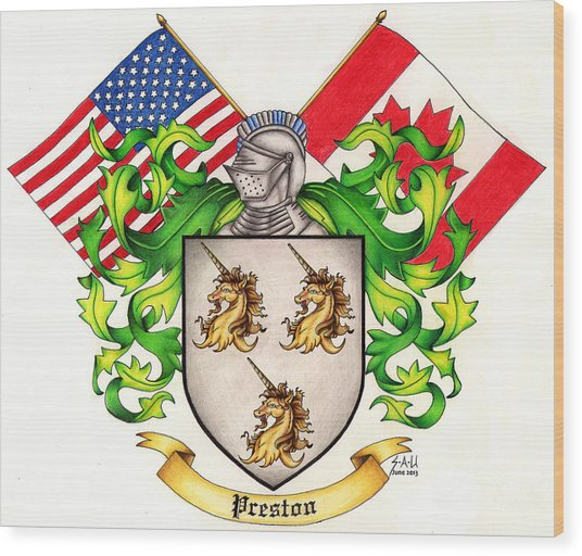 Preston Family Crest Wood Print by Sheryl Unwin