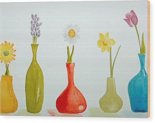 Pretty Flowers In A Row Wood Print