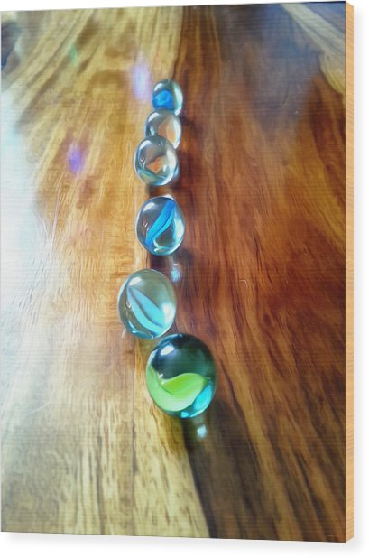 Pretty Marbles All In A Row Wood Print