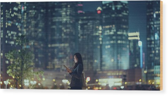 Pretty Office Lady Is Using Tablet In Wood Print by D3sign