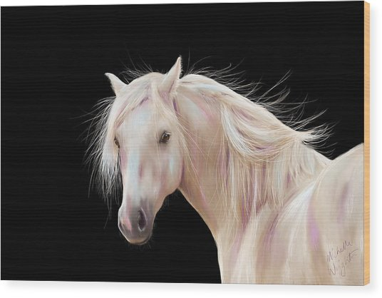 Pretty Palomino Pony Painting Wood Print