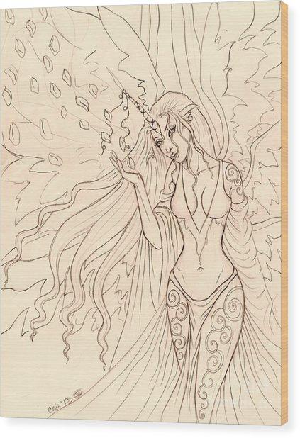 Pretty Pegasus Sketch Wood Print by Coriander  Shea