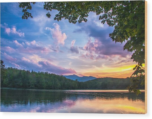 Price Lake Sunset Wood Print