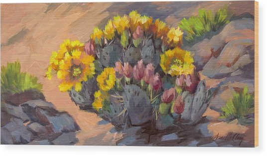 Prickly Pear Cactus In Bloom Wood Print