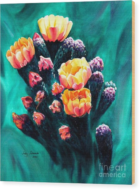 Prickly Pear Cactus Painting Wood Print