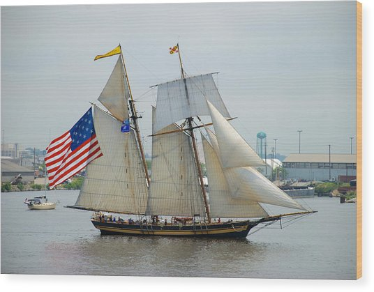 Pride Of Baltimore II Passing By Fort Mchenry Wood Print