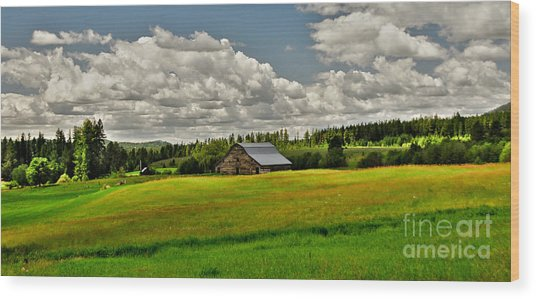 Priest River Barn Wood Print