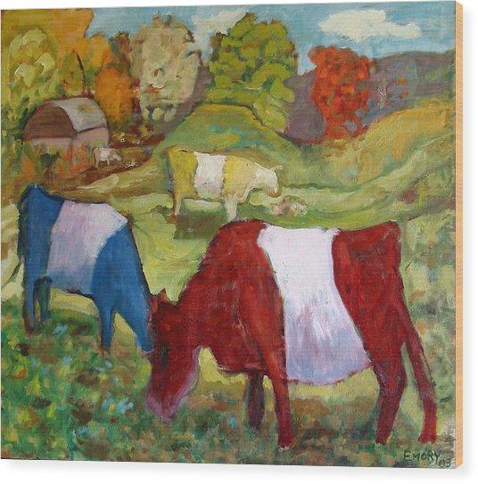 Primary Cows Wood Print