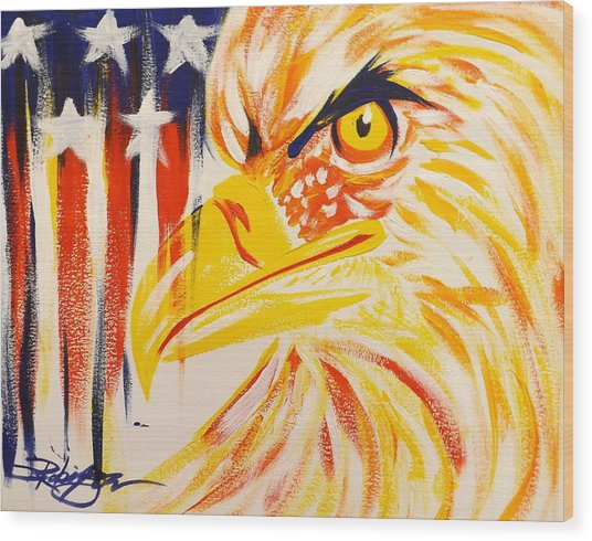 Primary Eagle Wood Print