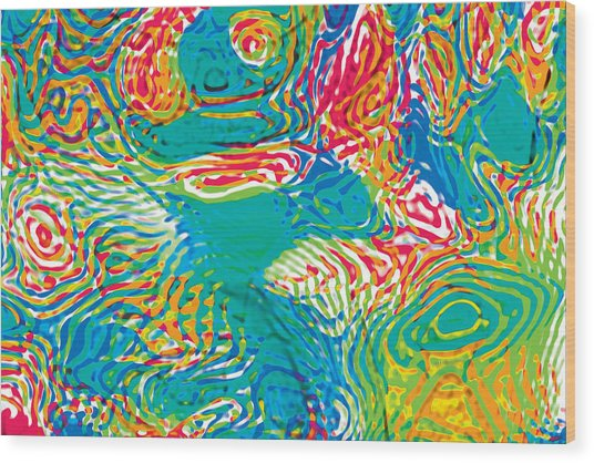 Primary Ripples Tropical Wood Print