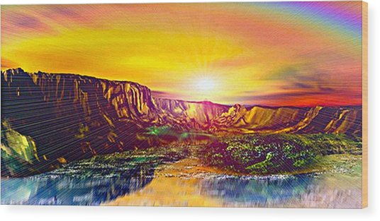 Rainbow Dawn Over Primeval Tide  Life Begins V3 Wood Print by Rebecca Phillips