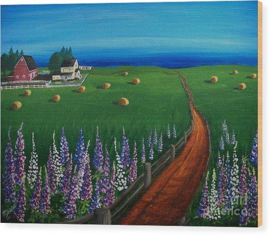 Prince Edward Island Coastal Farm Wood Print