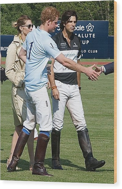 Prince Harry Handshake Wood Print