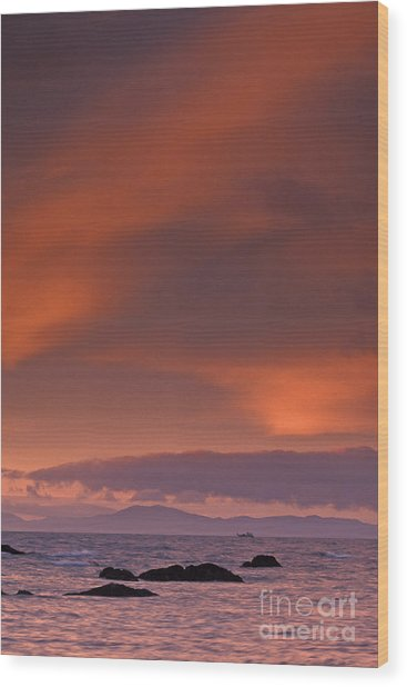 Prince William Sound Sunrise Wood Print by Tim Grams