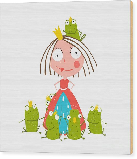 Princess And Many Prince Frogs Portrait Wood Print