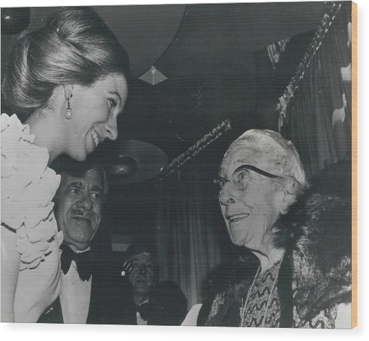 Princess Anne Meets Agatha Christie At Premiere Of Film Wood Print by Retro Images Archive