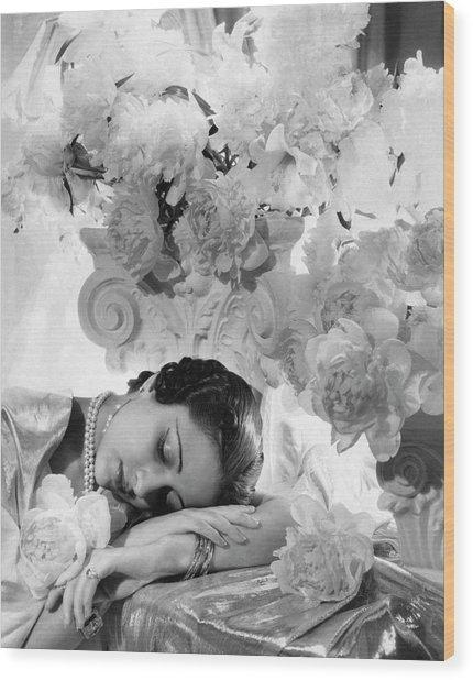 Princess Karam Of Kapurthala With Flowers Wood Print by Cecil Beaton