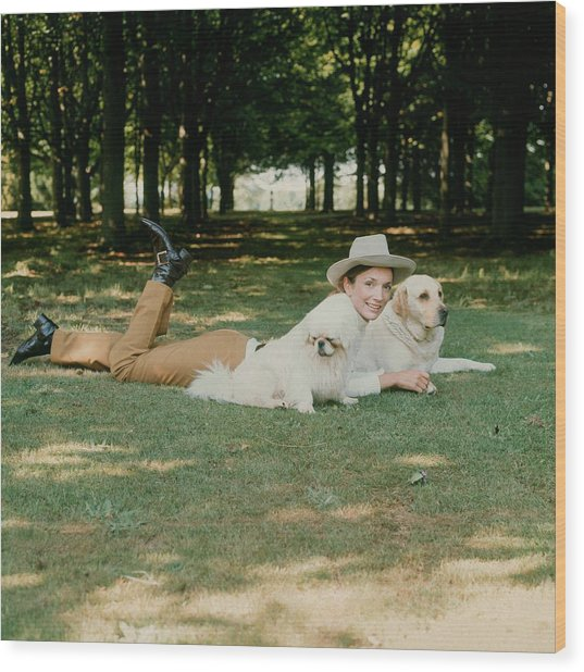 Princess Lee Radziwill With Dogs Wood Print