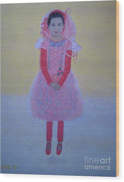 Princess Needs Pink New Hair Wood Print by Elizabeth Stedman