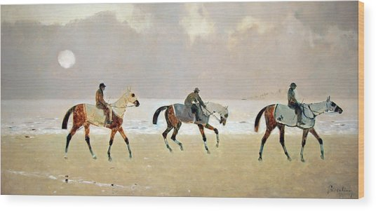 Princeteau's Riders On The Beach At Dieppe Wood Print