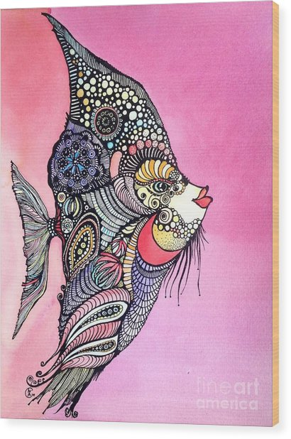 Priscilla The Fish Wood Print