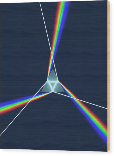 Prism And 3 Spectrums Wood Print by David Parker