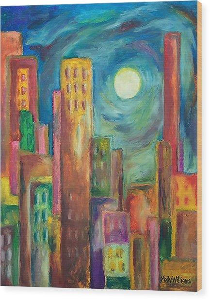 Prismatic Cityscape Wood Print