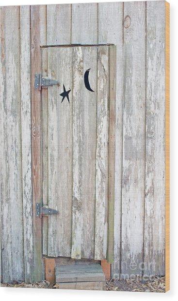 Privy Door Wood Print