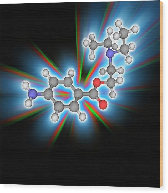 Procaine (novocaine) Drug Molecule Wood Print by Laguna Design/science Photo Library