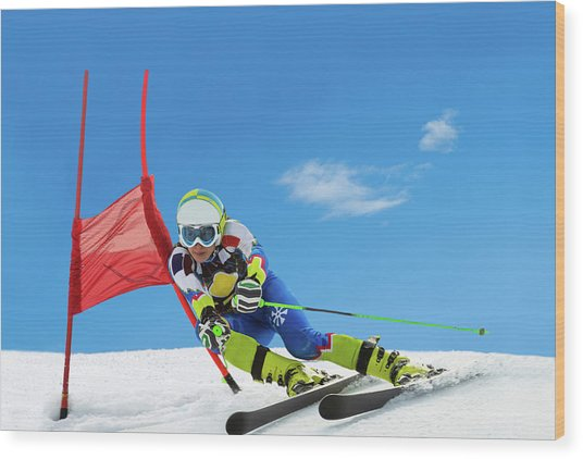 Professional Female Ski Competitor At Wood Print