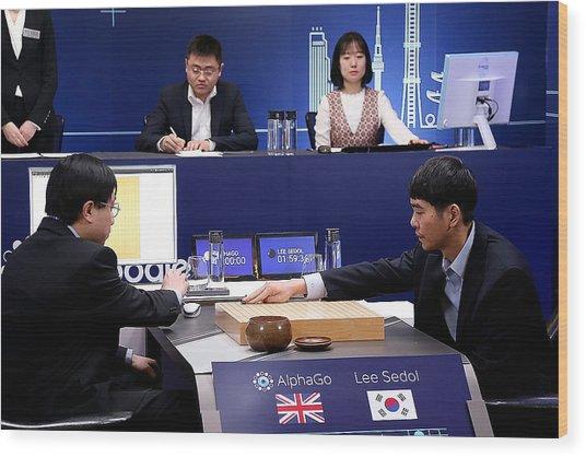 Professional 'go' Player Lee Se-dol Plays Google's Alphago - Last Day Wood Print by Handout