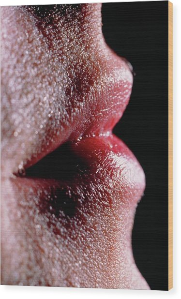 Profile Of Young Mans Face Centered On Lips Wood Print by Martin Dohrn/science Photo Library.
