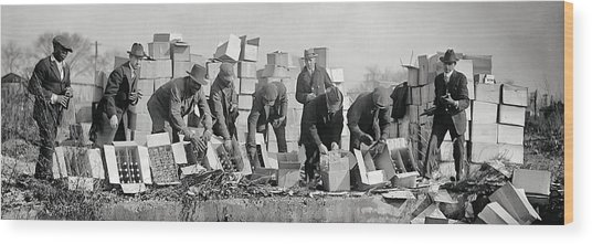 Prohibition Feds Destroy Liquor  1923 Wood Print