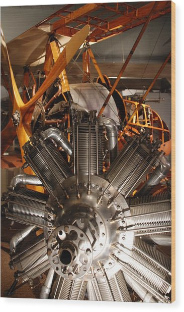 Prop Plane Engine Illuminated Wood Print