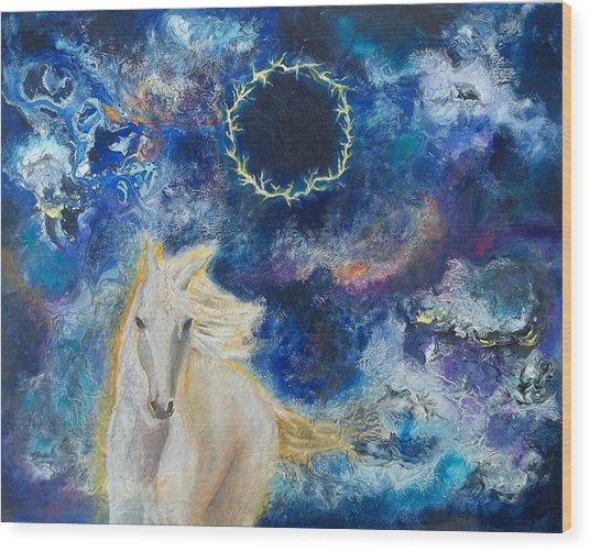 Prophetic Message Sketch Painting 6 Ring Of Lightning White Horse Wood Print