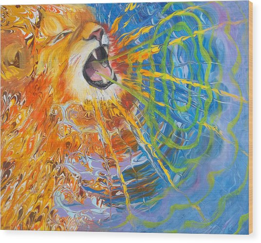Prophetic Sketch Painting 25 Lion Of Judah Awakens With A Roar Wood Print