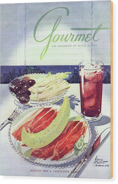 Prosciutto, Melon, Olives, Celery And A Glass Wood Print