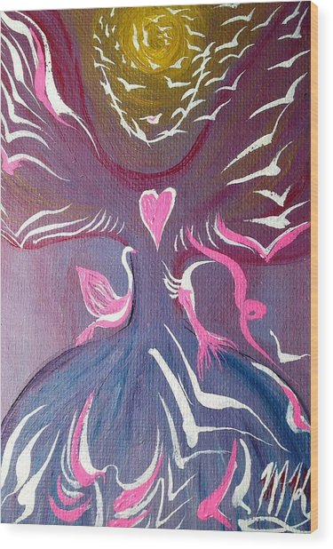 Protection Angel Wood Print by Michaela Kraemer
