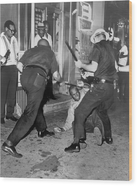 Protester Clubbed In Harlem Wood Print