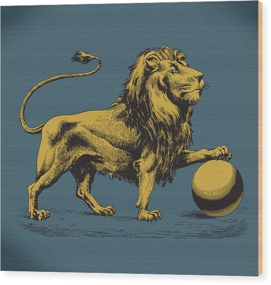 Proud Lion Wood Print by Viv Griffiths